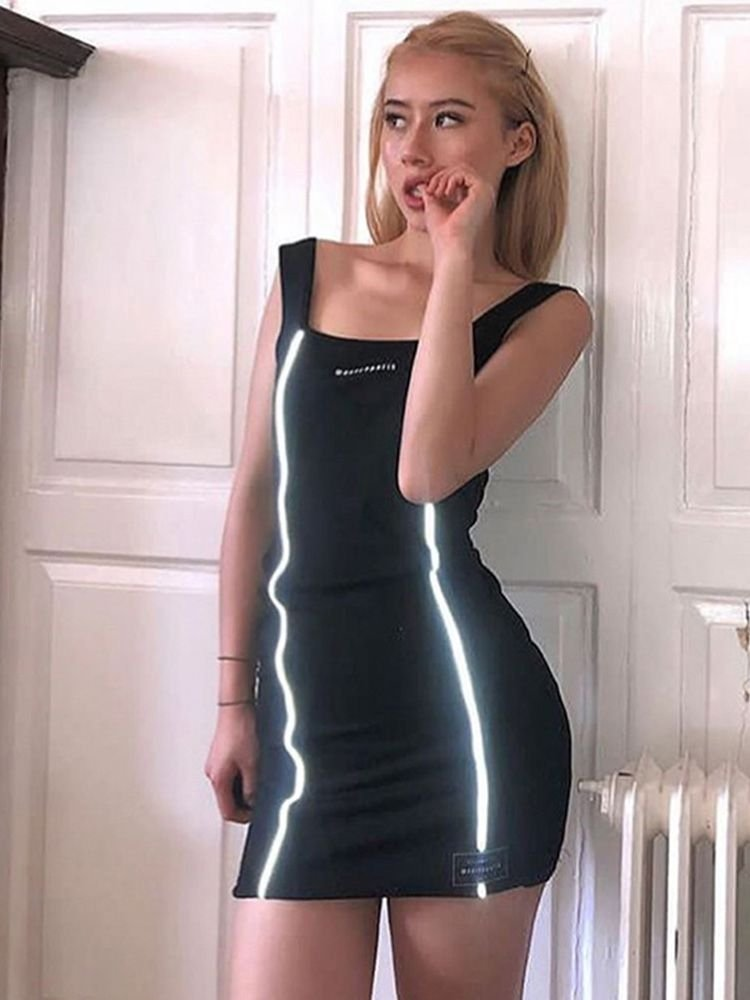 girl is wearing bodycon dress with reflective acents
