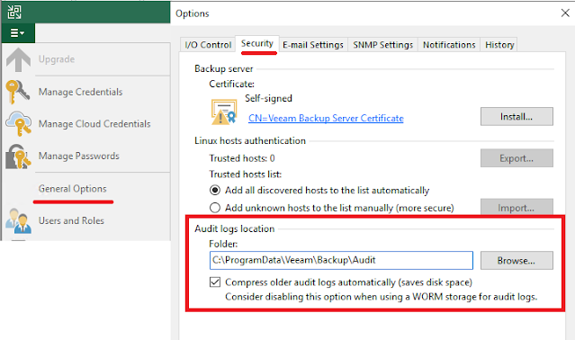 Veeam Backup: Audit logs ruta
