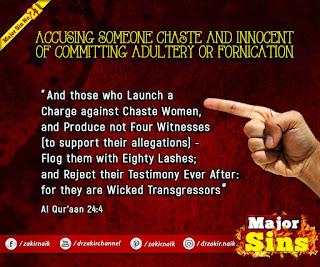 MAJOR SIN. 21.2. ACCUSING SOMEONE CHASTE AND INNOCENT OF COMMITTING ADULTERY OR FORNICATION