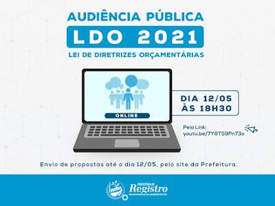 Audiência Pública da LDO será pela internet em Registro-SP