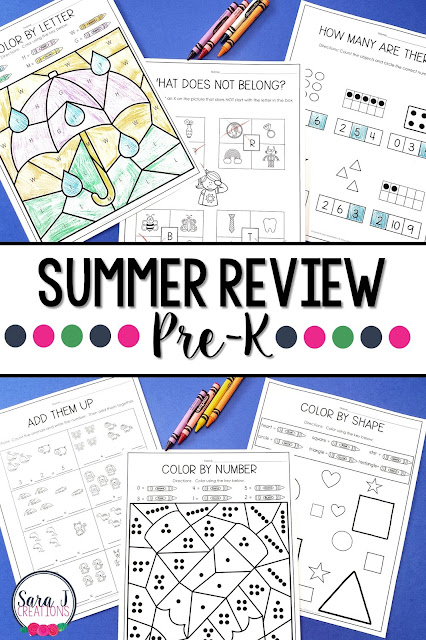 Pre-K Summer Review packet includes 100 pages of no prep work to help prevent summer slide.  Some of the topics covered include number and letter ID, counting, addition, sequencing numbers, rhyming words and more!