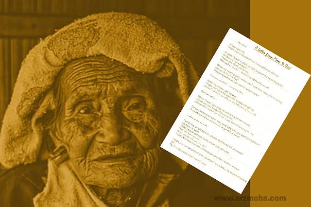a letter from parent to beloved child, surat dari seorang ibu kepada anaknya, surat sedih,