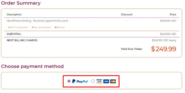 total price of their annual plan and the payment method of wpx hosting
