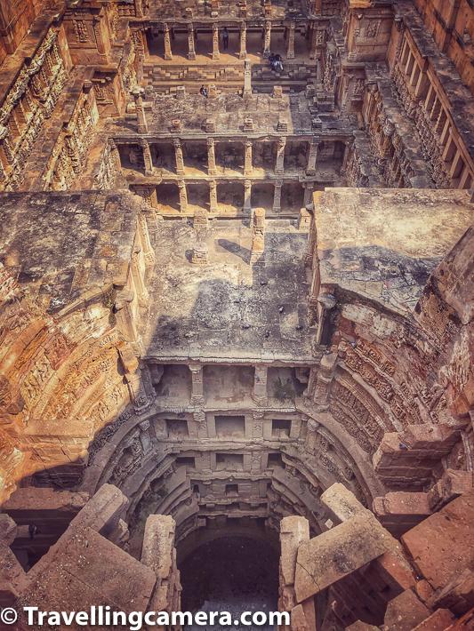 Above photograph shows a special view of the core of the stepwell. There is a walking trail at the top this stepwell which revolves around the boundary of the stepwell. This photograph doesn't show the real depth which was hard to capture well, given how this walking trail is built. and this photograph shows 3 levels from core of Rani ki Vav in Patan, Gujrat.