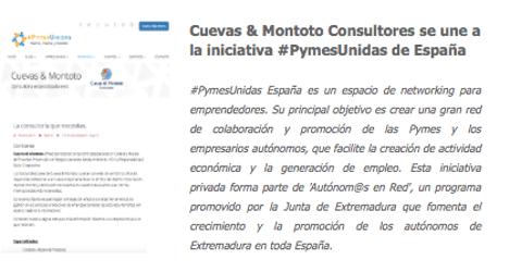 Acuerdo de colaboración firmado entre Pymes Unidas de España y Cuevas y Montoto Consultores para promocionarse mutuamente.