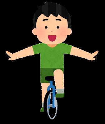 一輪車に乗る子供のイラスト(男の子)