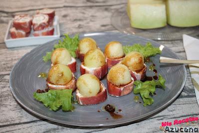 Rollitos de jamón con queso y melón