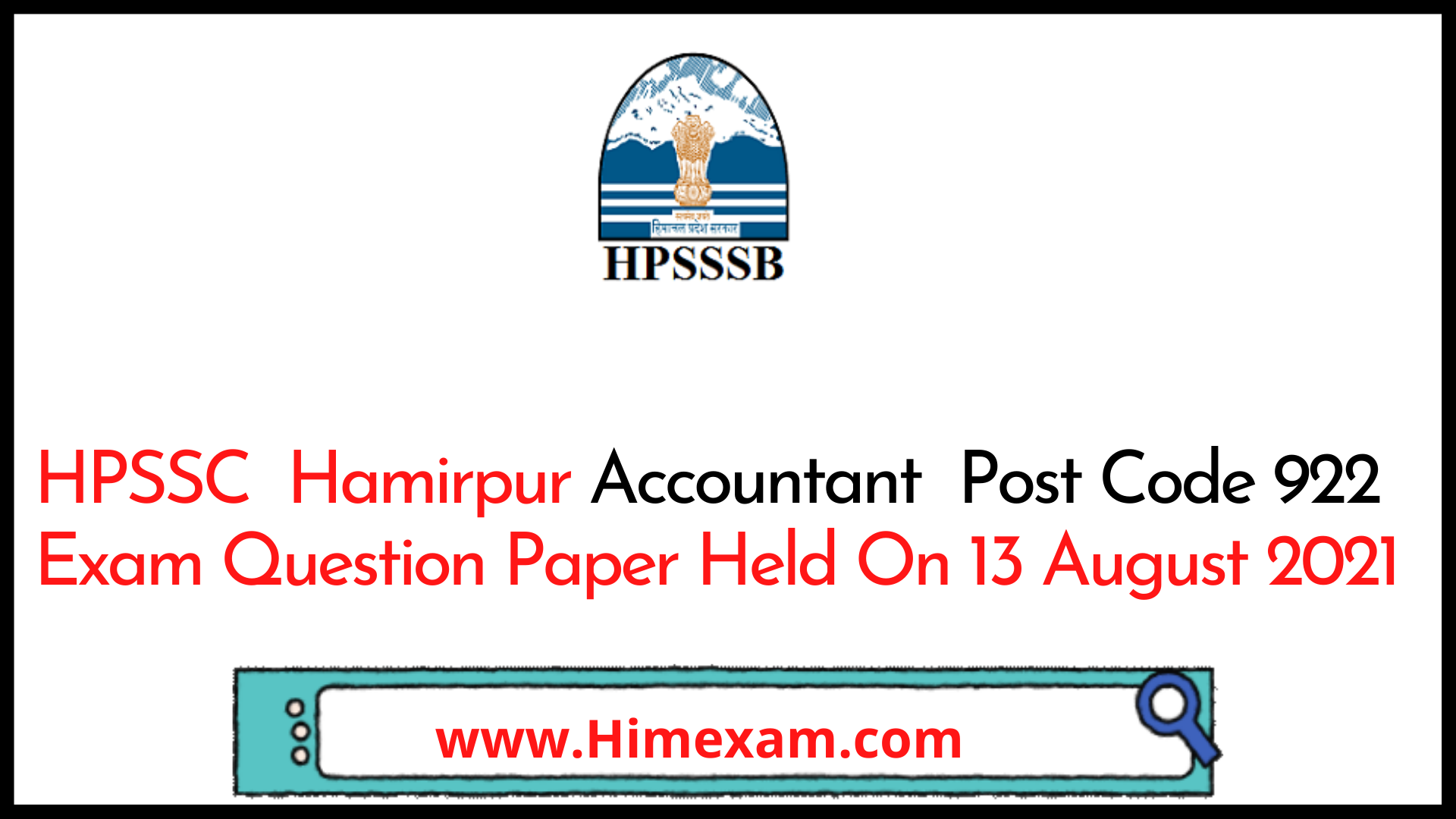 HPSSC  Hamirpur Accountant  Post Code 922 Exam Question Paper Held On 13 August 2021
