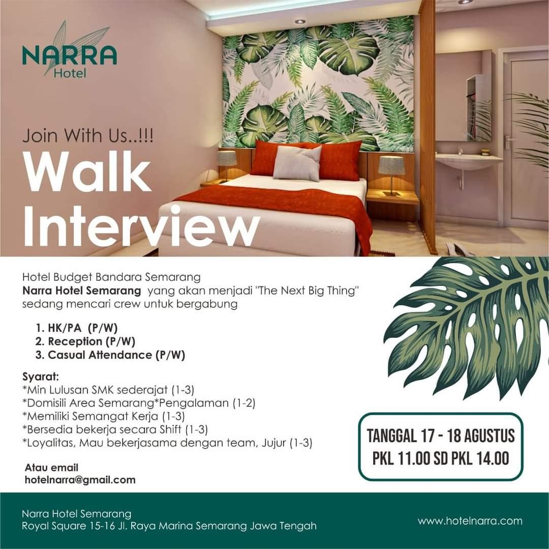 Lowongan Kerja Narra Hotel Semarang Walk In Interview 17 & 18 Agustus 2020