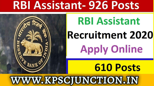 RBI Assistant Recruitment 2019-2020 (Out) – 926 Vacancy Notification Out