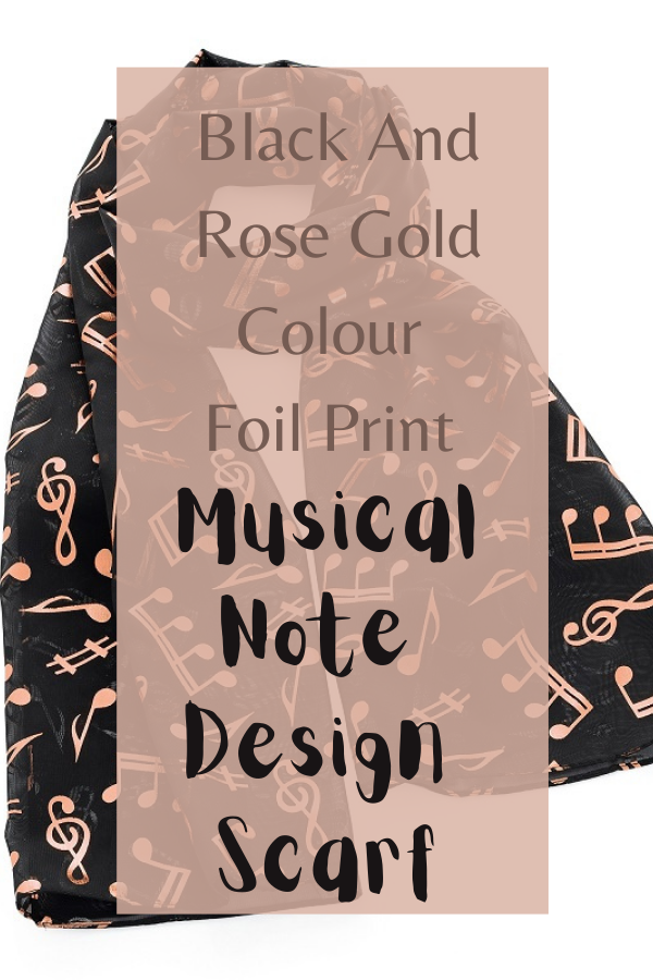 Black And Rose Gold Colour Foil Print Musical Note Design Scarf
