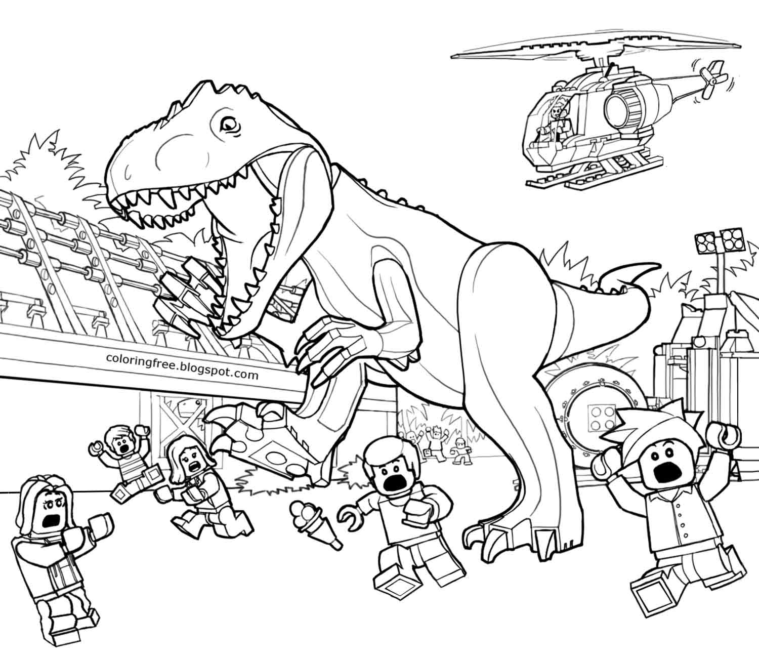 Free coloring pages jurassic world - Lego Dino Coloring Pages