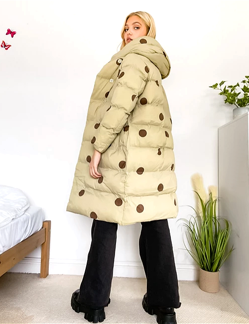 Jakke Laura recycled polyester longline jacket with hood in tonal spot