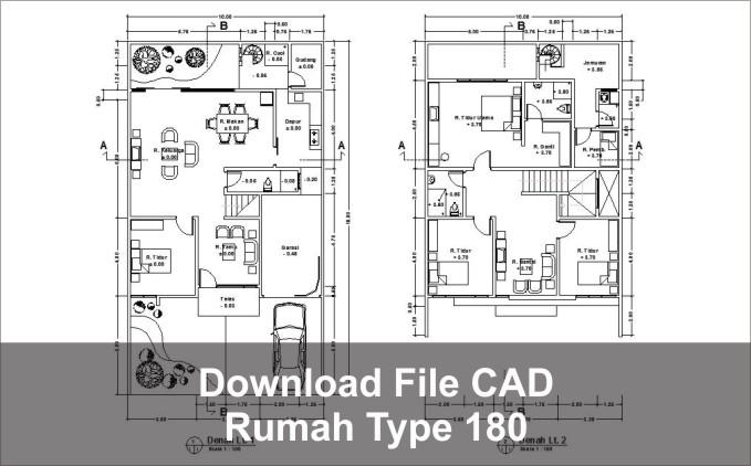 download rumah type 180 dwg cad
