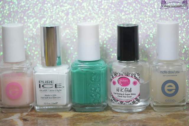 Essie Grow Stronger, Pure Ice Superstar, Essie Ruffles & Feathers, Glisten & Glow HK Girl Fast Drying Top Coat
