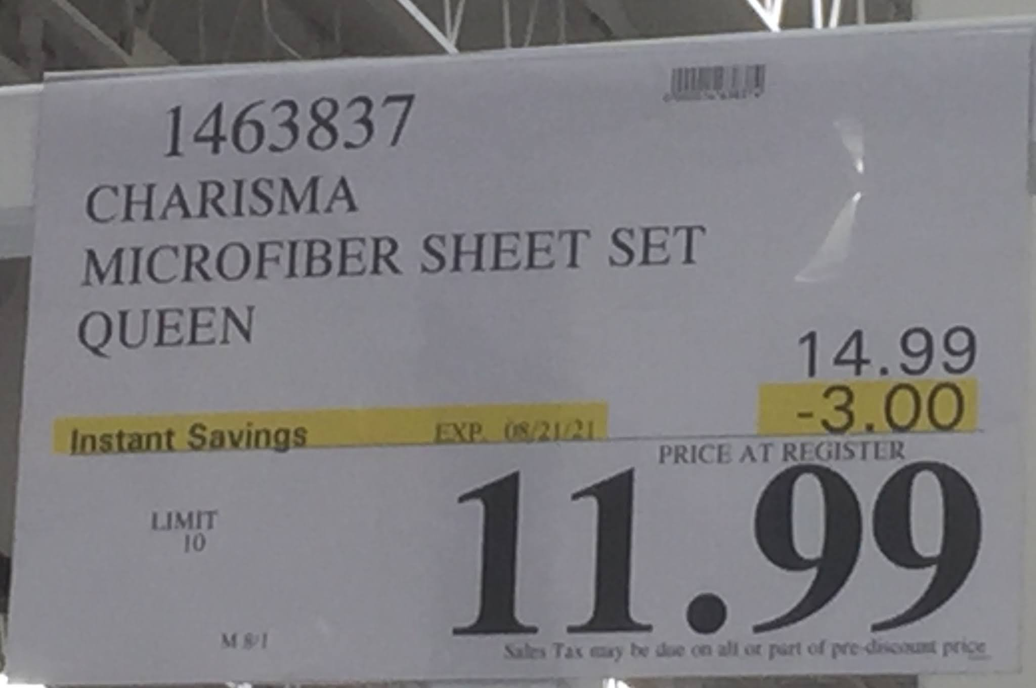Deal for the queen size Charisma 6-piece Microfiber Sheet Set at Costco