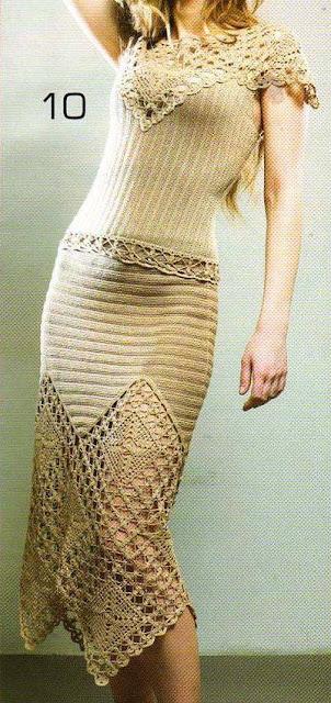 Patrón #1320: Blusa y Vestido a Crochet