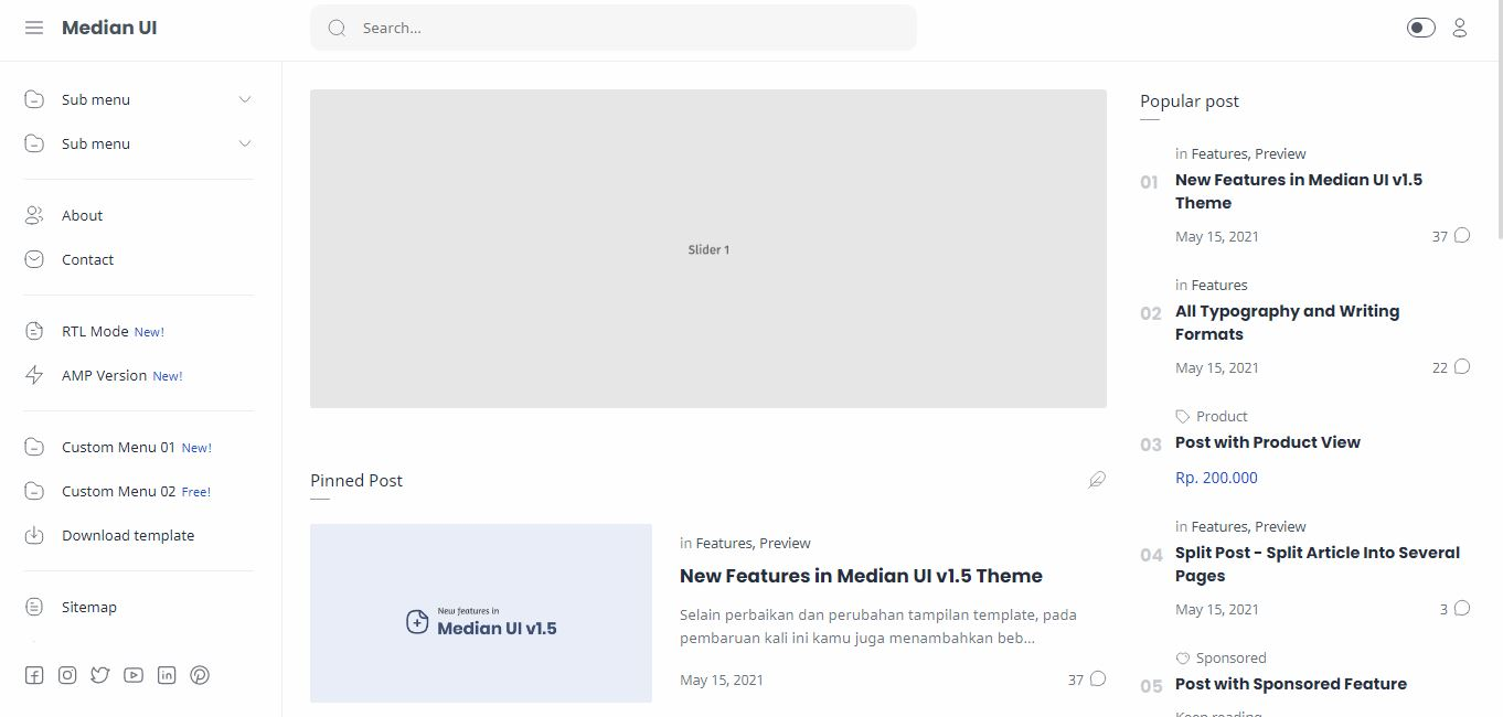 Median UI v1.3 Premium free Blogger Template