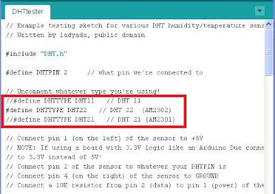DHTtester dalla liberia DHT - fonte Arduino IDE