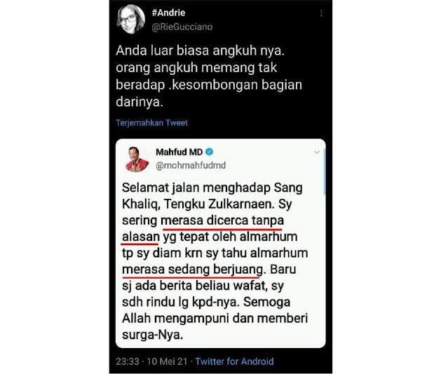Ustadz Tengku Meninggal, Ucapan Mahfud MD Sungguh Tak Patut