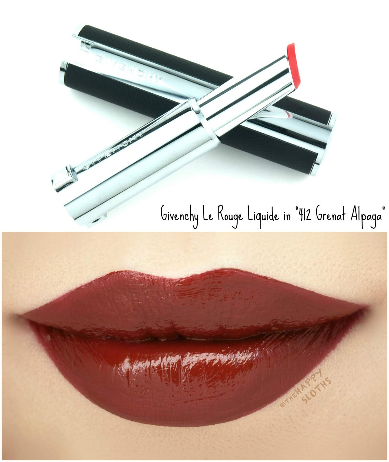"Givenchy | Le Rouge Liquide in ""412 Grenat Alpaga"": Review and Swatches"