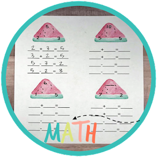 watermelon fact family - kindergarten math