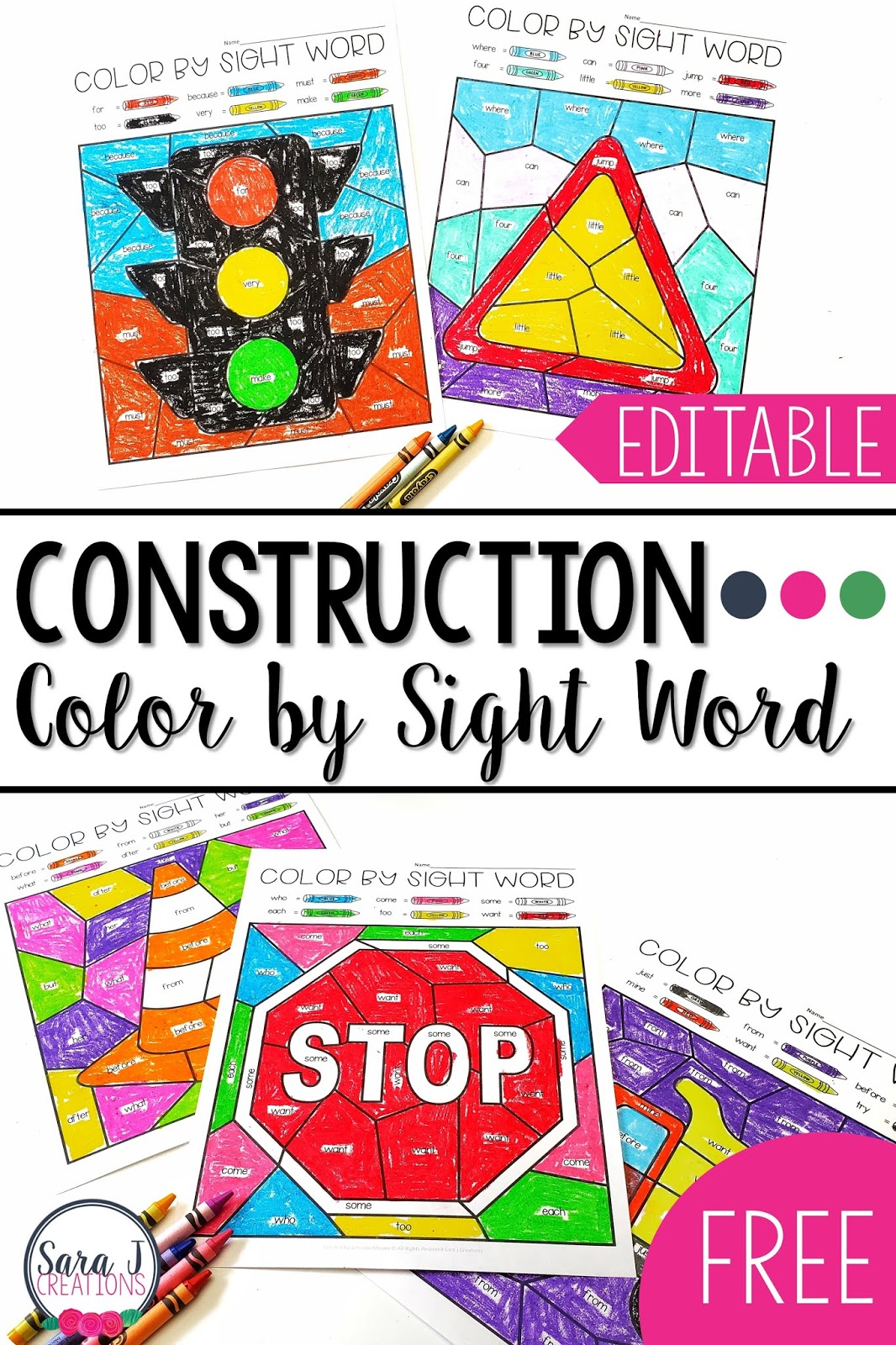 Construction Color by Sight Word Editable Coloring Pages. These construction themed sight word worksheets are editable so you can type in the exact words you want your students to practice. How awesome?! Grab these free printables to use with your kindergarten, first grade, or second grade class. Don't miss out on this fun freebie and the other construction freebies that are shared in this post.