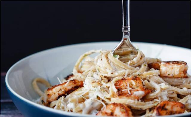 Thin Cajun Shrimp Alfredo Pasta  #shirmp