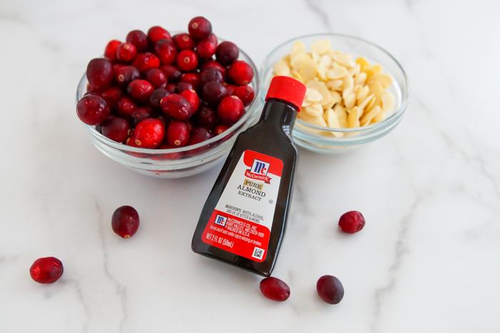 cranberries, almond extract, almonds