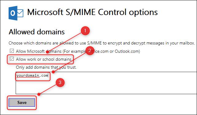 """لوحة """"خيارات التحكم S / MIME""""."""