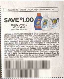 """$1/1 All Laundry Detergent coupon from """"RetailMeNot"""" insert week of 5/17/20."""