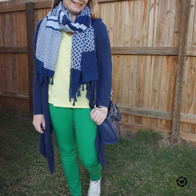 awayfromtheblue Instagram | yellow tee with green skinny jeans navy scarf cardigan and bag winter school run style