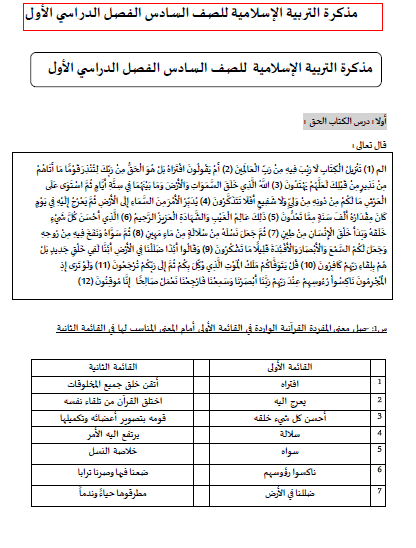 مذكرة شاملة في التربية الاسلامية للصف السادس الفصل الدراسي الاول 2018-2019