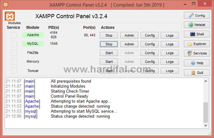 Membuat database mysql dengan xampp