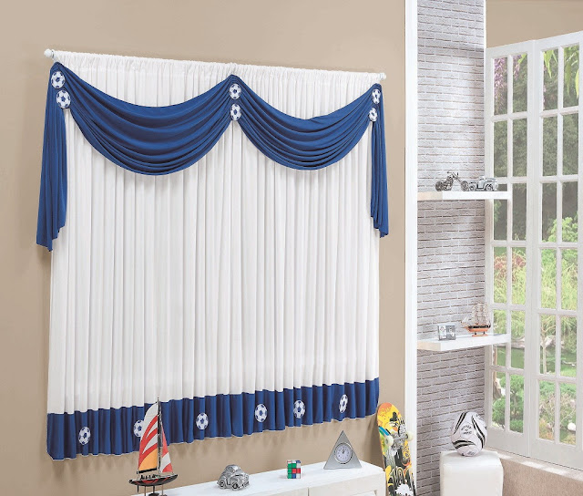 blue and white curtin designs ideas for window treatment