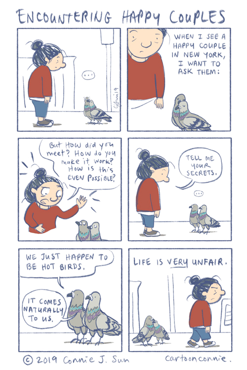 comics, illustration, new york city, birds, pigeons, comic strip, humor, connie sun, cartoonconnie