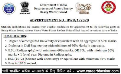 HWB Recruitment 2020, Heavy Water Board Recruitment 2020, HWB Vacancy 2020, HWB Recruitment vacancy 2020, HWB Recruitment, Heavy Water Board Recruitment.