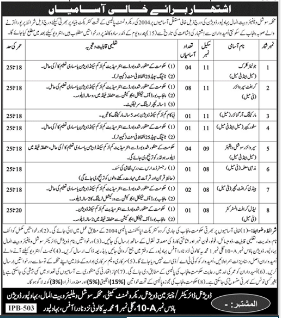 Social Welfare and Bait ul Maal Bahawalpur Jobs 2021 Latest Advertisement