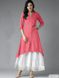 Stunning Cotton Solid With Button Knee Length Kurti Sets