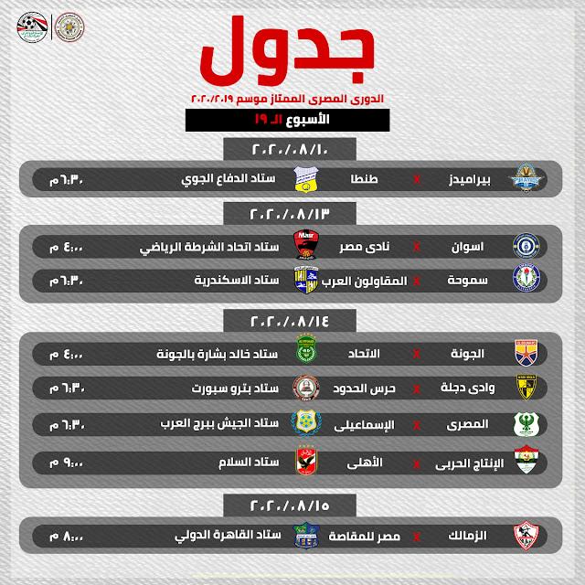 مباريات الأسبوع 19 من الدورى المصرى