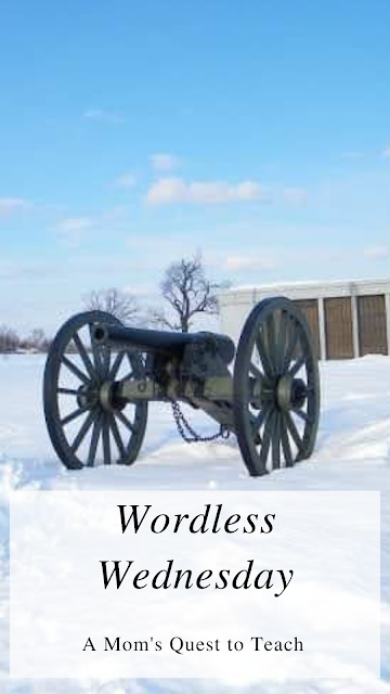 Wordless Wednesday: A Mom's Quest to Teach; cannon at Gettysburg in the snow