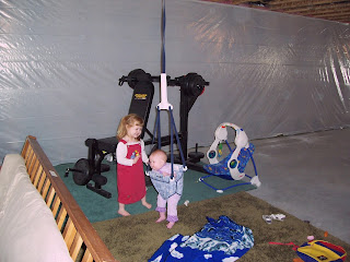 The kids playing in our basement--so much fun here