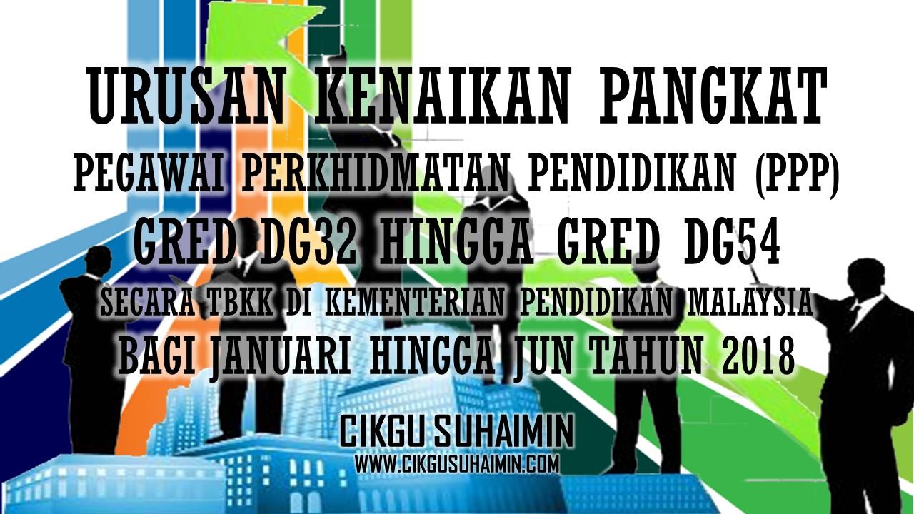 Urusan Kenaikan Pangkat Bagi Pegawai Perkhidmatan Pendidikan Ppp Gred Dg32 Hingga Gred Dg54 Secara Tbkk Di Kementerian Pendidikan Malaysia Bagi Januari Hingga Jun Tahun 2018