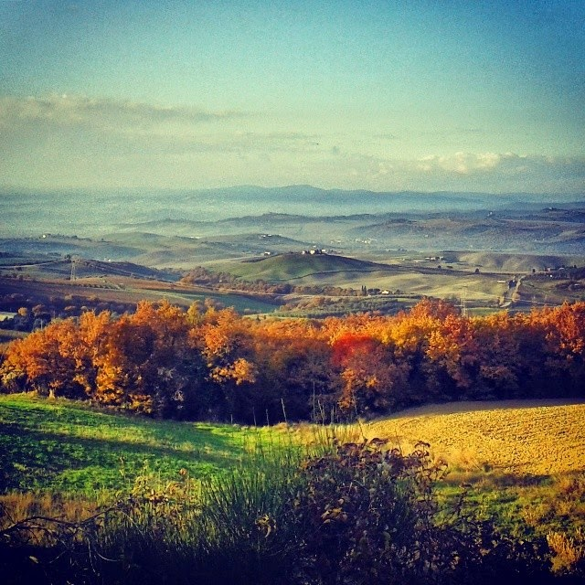 Tuscany's rolling hills in autumn