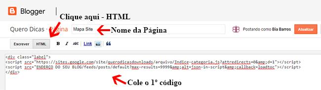 Acesse o html dessa página e cole o 1º código