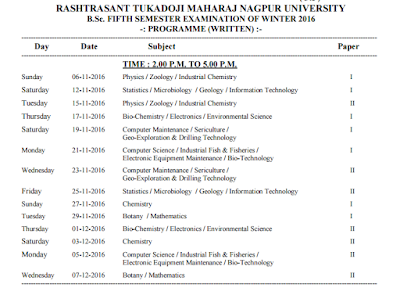Bsc 5th sem time table exam date winter 2016 nagpur university for Rdvv 5th sem time table