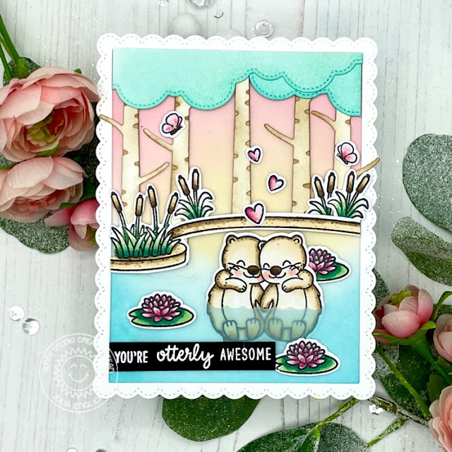 Sunny Studio Stamps: My Otter Half Country Scenes Rustic Winter Dies Fluffy Clouds Otter Themed Cards by Julia Englich and Franci Vignoli