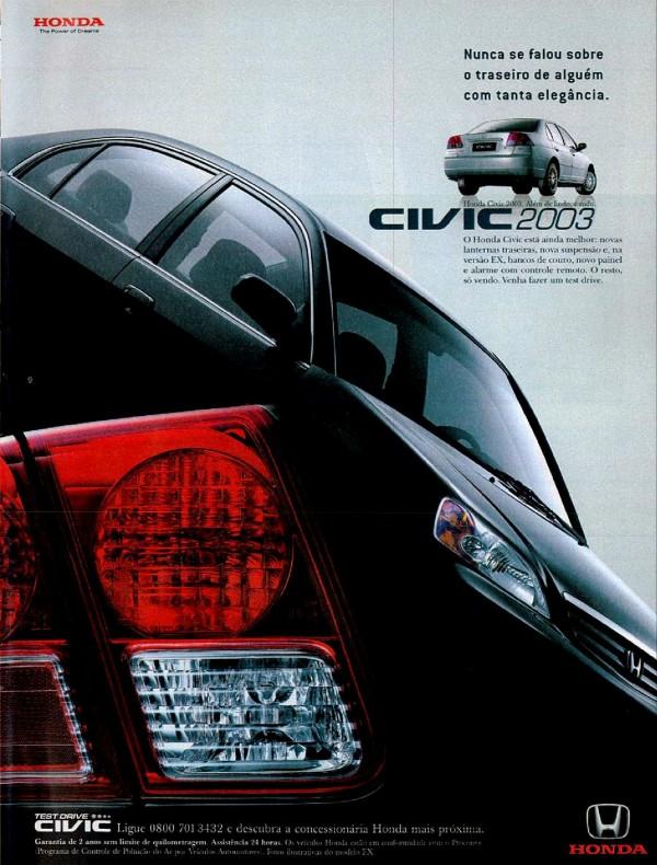 Anúncio da Honda veiculado em 2002 promovendo o modelo 2003 do Civic