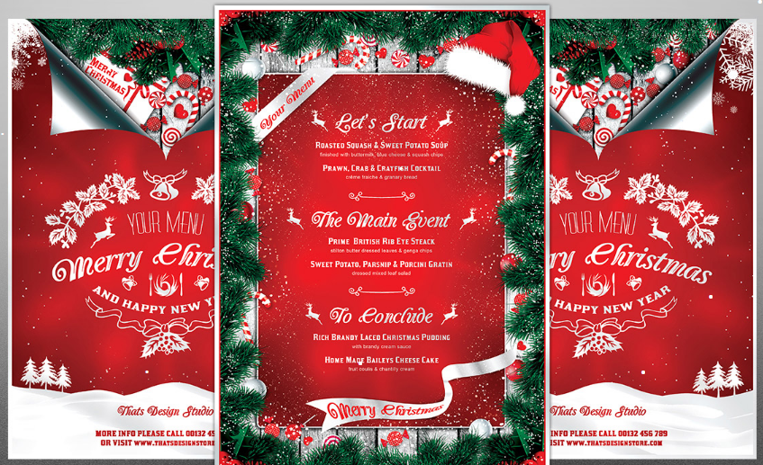 christmas menu template psd 2016
