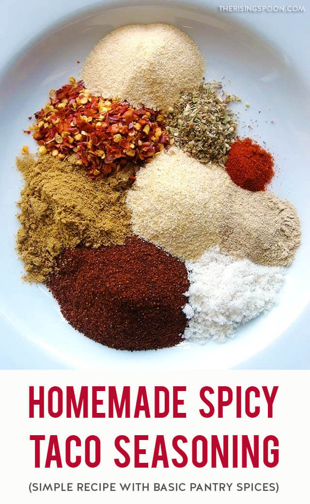 A simple recipe for a slightly spicy homemade taco seasoning mix made by blending dry spices from your kitchen pantry. Make your own to save money, cut down on sodium in pre-packaged brands, and avoid artificial ingredients! Adjust the heat level to your taste by reducing or increasing the amount of pepper.